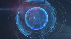 Rotating digital hologram of globe of Earth planet - stock footage