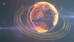 Spinning hologram globe of Earth with rotating orbits - stock footage