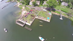 Blessing of the Fleet celebration, aerial Stock Footage