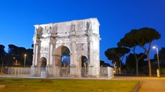 Arch of Constantine at dawn. Rome. Italy Stock Footage