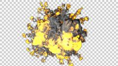 Beautiful 3D front view  realistic explosion with alpha Stock Footage