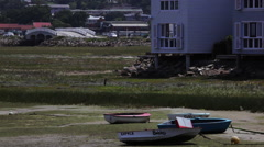 Rowboats on shore Stock Footage