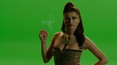 Glamour Girl Smoking Stock Footage