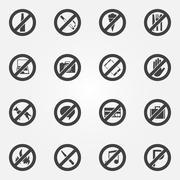 Stock Illustration of Prohibited or restriction symbols set