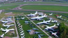 Old aircrafts at aviation museum in Kiev. Aerial Stock Footage