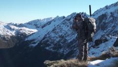 Hunter on Mountain Stock Footage