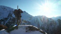 Hunter on Mountain Stock Footage