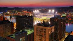 Day to Night Timelapse View over Pittsburgh North Shore and PNC Park Stock Footage