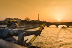 Eiffel Tower since Alexandre III Bridge in Paris, France Stock Photos