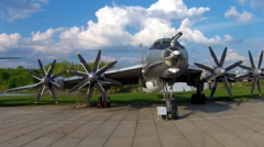 The Tupolev Tu-142 at the aviation museum in Kiev. Aerial Stock Footage