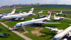 Old aircrafts at aviation museum in Kiev. Aerial - stock footage