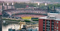 Evening Establishing Shot of PNC Park During a Baseball Game Stock Footage