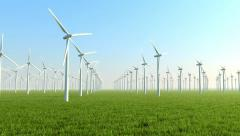 Wind turbines on the green field Stock Footage