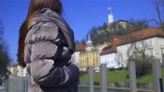 Person enjoying view of Ljubljana castle 4K Stock Footage