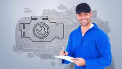 Composite image of handyman in blue overall writing on clipboard - stock illustration