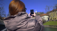Person photographing castle far away 4K Stock Footage