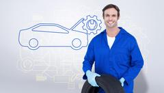 Stock Illustration of Composite image of confident mechanic holding tire