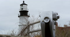 Portland Head Lighthouse, Maine, slider move Stock Footage