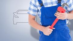 Composite image of repairman holding adjustable pliers Stock Illustration