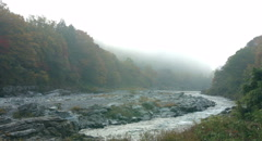 Foggy river 4k  non color graded (4000x2160) Stock Footage