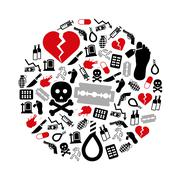 Suicide icons in circle Stock Illustration