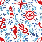 marine seamless pattern - stock illustration