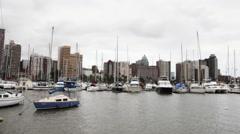 Marina and Durban skyline - stock footage