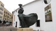 Statue of Spanish Matador Stock Footage