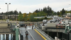 Motorcycles driving off Washington State ferry in Bainbridge Island - 4K UHD Stock Footage