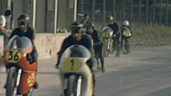 Monza 1963: starting the warm up of the Grand Prix motorcycle Stock Footage