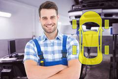 Composite image of male handyman standing arms crossed - stock illustration
