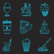 Blue line icons for breakfast menu Stock Illustration