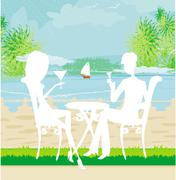 Stock Illustration of romantic date on a tropical beach