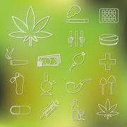 drug outline icons - stock illustration