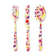 cutlery with pattern - stock illustration