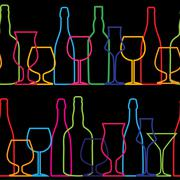 Stock Illustration of Vector Illustration of Silhouette Alcohol Bottle Seamless Patter