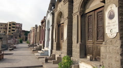 Pan of mausoleums in Cairo, Egypt Stock Footage