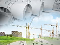 Field with building crane under blue sky Stock Illustration