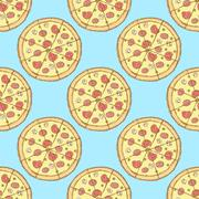 Sketch tasty pizza in vintage style Stock Illustration
