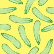 Sketch tasty zucchini in vintage style - stock illustration