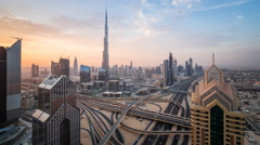 Time lapse - Dubai, Sheikh Zayed Rd & the Burj Khalifa Stock Footage
