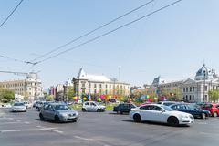 Rush Hour In University Square Of Bucharest - stock photo