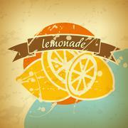 lemonade retro poster - stock illustration