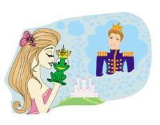 Stock Illustration of Beautiful young princess kissing a big frog