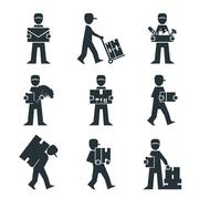 Stock Illustration of Delivery Person Freight Logistic Business Industry Icons