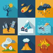 Natural Disaster Icons - stock illustration