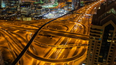 Time lapse - Dubai, Sheikh Zayed Rd road Interchange Stock Footage