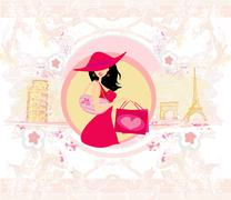 Beautiful women Shopping in France and Italy Stock Illustration