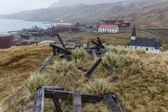 Overview of the abandoned whaling station in Grytviken Harbor, South Georgia, Stock Photos
