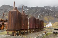 Rusting machinery at the abandoned whaling station in Grytviken Harbor, South Stock Photos